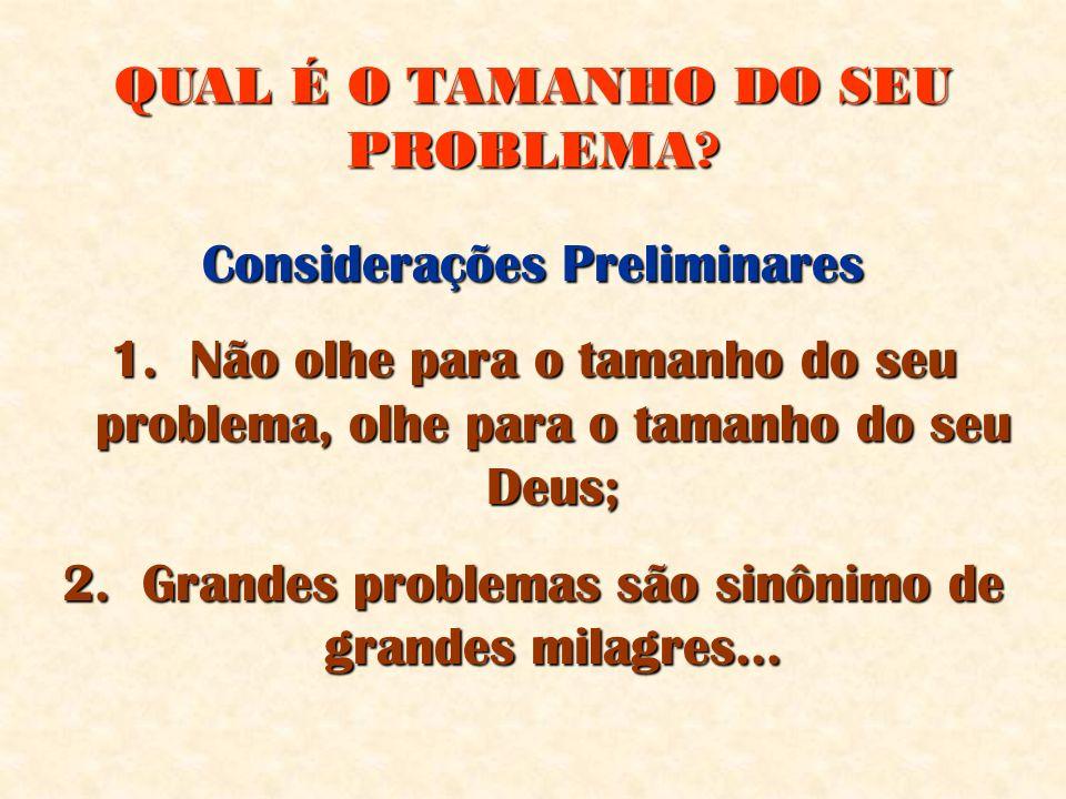 QUAL É O TAMANHO DO SEU PROBLEMA? Considerações Preliminares 1. Não olhe para o tamanho do seu problema, olhe para o tamanho do seu Deus; 2. Grandes p