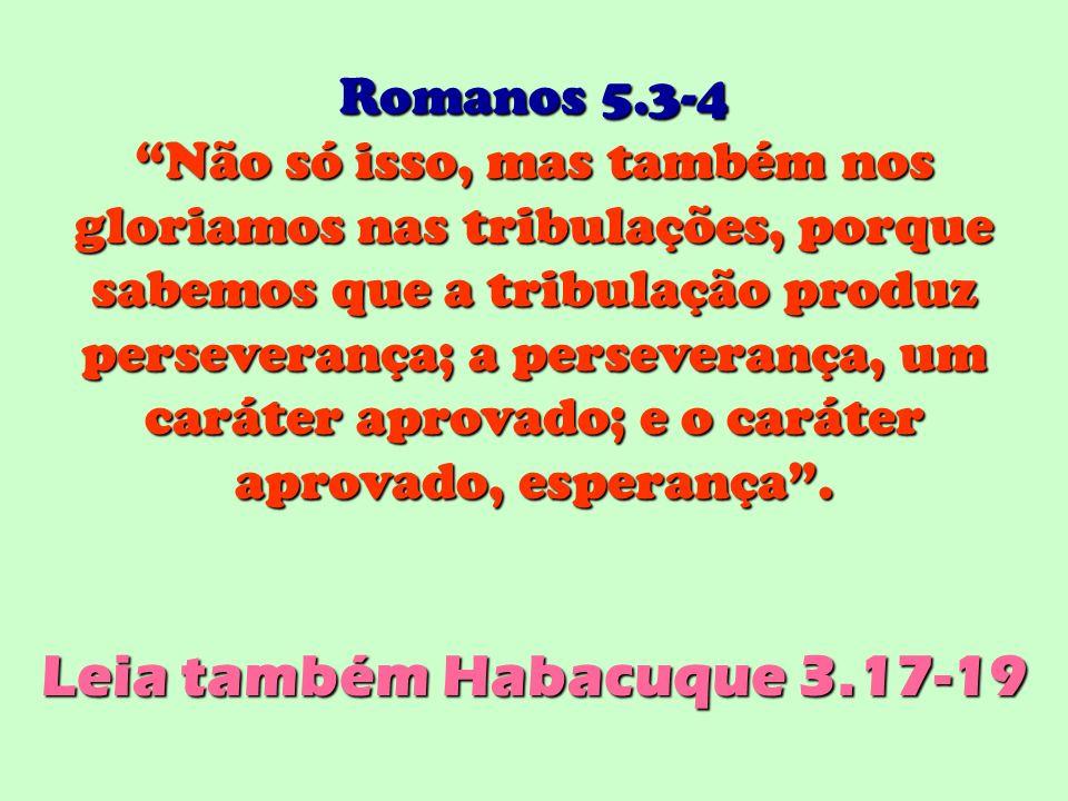 Romanos 5.3-4 Não só isso, mas também nos gloriamos nas tribulações, porque sabemos que a tribulação produz perseverança; a perseverança, um caráter a