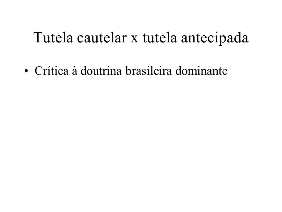 Tutela cautelar x tutela antecipada Crítica à doutrina brasileira dominante