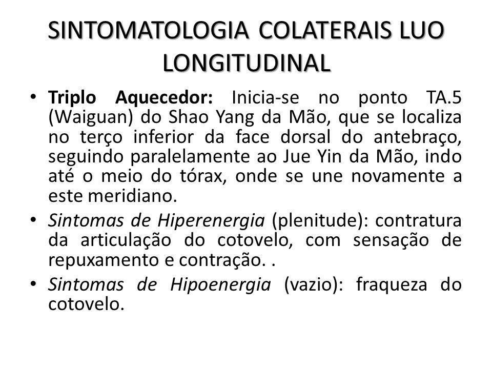 SINTOMATOLOGIA COLATERAIS LUO LONGITUDINAL Triplo Aquecedor: Inicia-se no ponto TA.5 (Waiguan) do Shao Yang da Mão, que se localiza no terço inferior