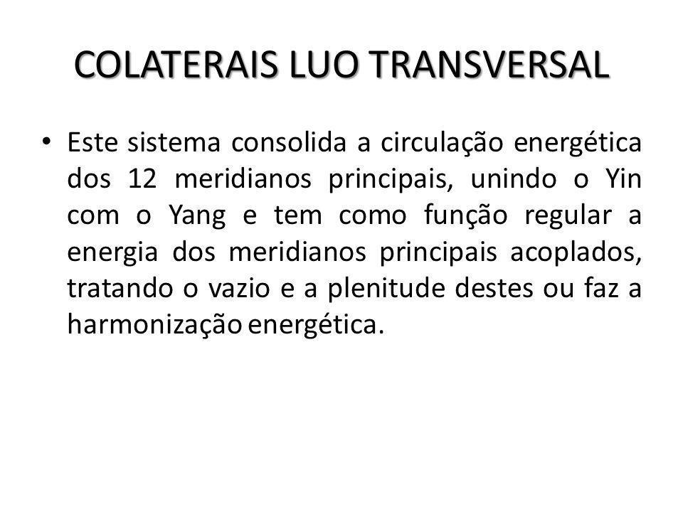 COLATERAIS LUO TRANSVERSAL Este sistema consolida a circulação energética dos 12 meridianos principais, unindo o Yin com o Yang e tem como função regu