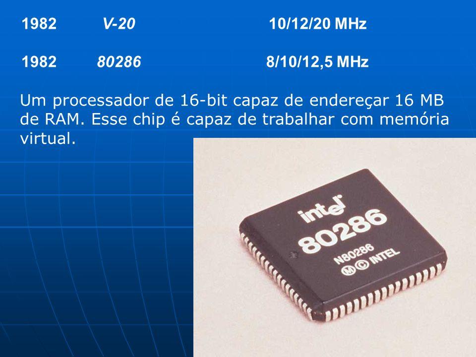 1982V-2010/12/20 MHz 1982802868/10/12,5 MHz Um processador de 16-bit capaz de endereçar 16 MB de RAM. Esse chip é capaz de trabalhar com memória virtu