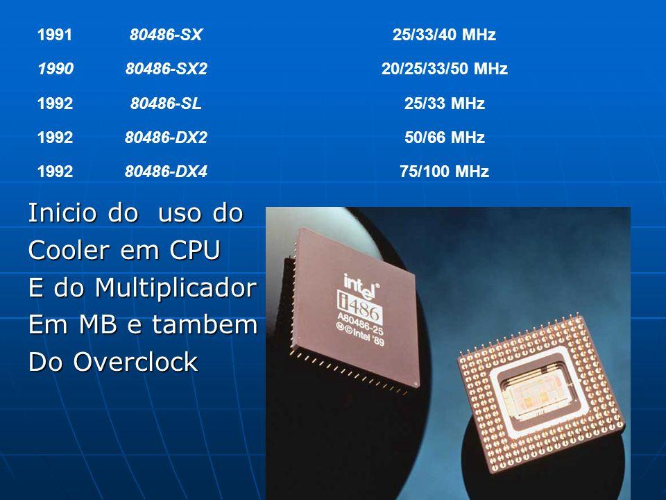 199180486-SX25/33/40 MHz 199080486-SX220/25/33/50 MHz 199280486-SL25/33 MHz 199280486-DX250/66 MHz 199280486-DX475/100 MHz Inicio do uso do Cooler em