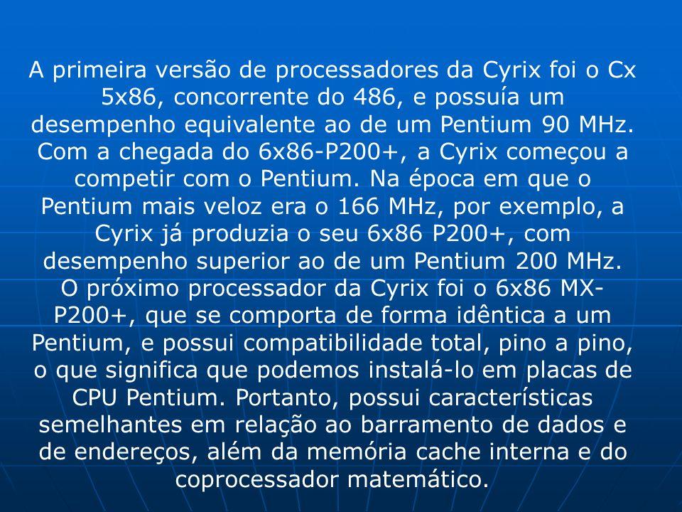 A primeira versão de processadores da Cyrix foi o Cx 5x86, concorrente do 486, e possuía um desempenho equivalente ao de um Pentium 90 MHz. Com a cheg