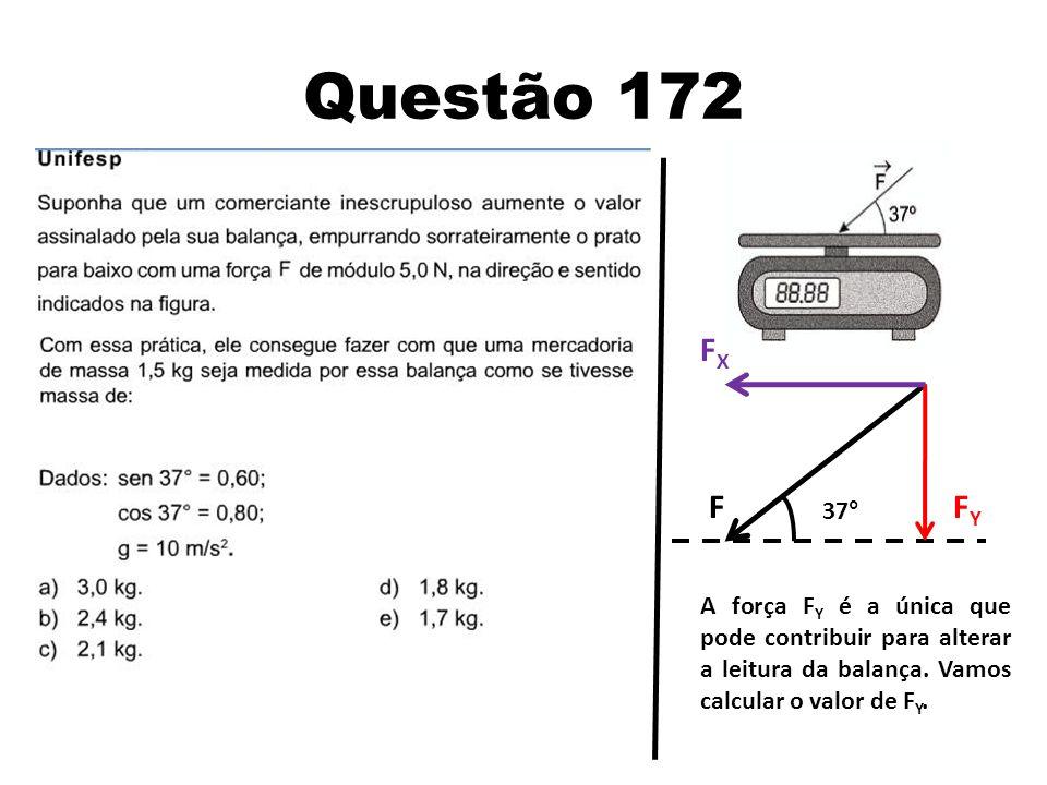 Questão 172 F 37° FYFY FXFX A força F Y é a única que pode contribuir para alterar a leitura da balança. Vamos calcular o valor de F Y.