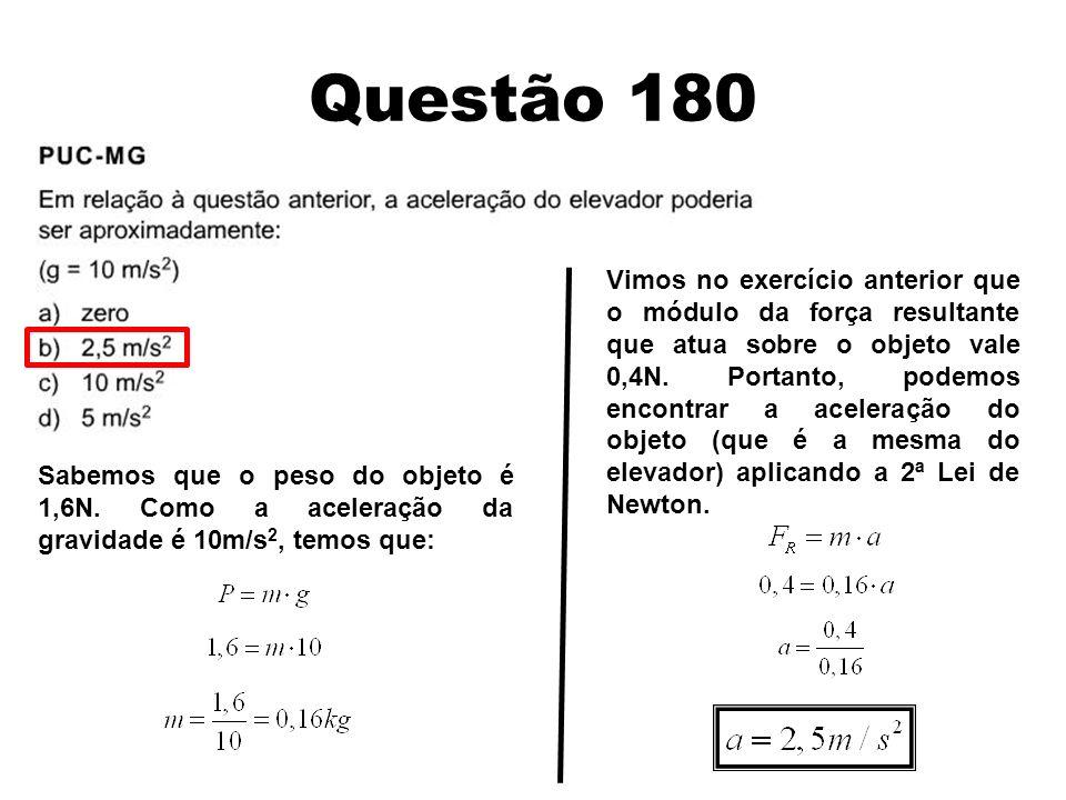 Questão 180 Sabemos que o peso do objeto é 1,6N. Como a aceleração da gravidade é 10m/s 2, temos que: Vimos no exercício anterior que o módulo da forç