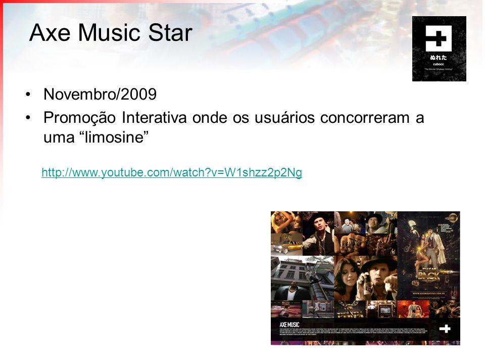 Axe Music Star Novembro/2009 Promoção Interativa onde os usuários concorreram a uma limosine http://www.youtube.com/watch?v=W1shzz2p2Ng