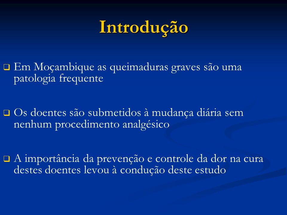 Introdução Em Moçambique as queimaduras graves são uma patologia frequente Os doentes são submetidos à mudança diária sem nenhum procedimento analgésico A importância da prevenção e controle da dor na cura destes doentes levou à condução deste estudo