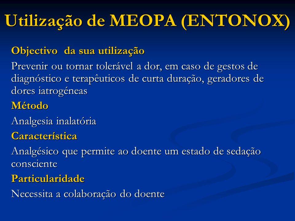 Utilização de MEOPA (ENTONOX) Objectivo da sua utilização Prevenir ou tornar tolerável a dor, em caso de gestos de diagnóstico e terapêuticos de curta