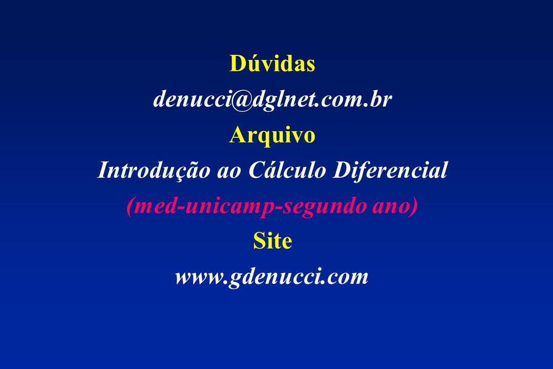 Dúvidas denucci@dglnet.com.br Arquivo Introdução ao Cálculo Diferencial (med-unicamp-segundo ano) Site www.gdenucci.com