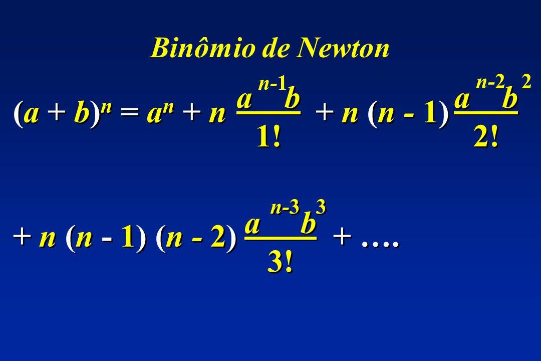 (a + b) n = a n + n + n (n - 1) a b 1! n-1 a b 2! n-2 2 + n (n - 1) (n - 2) + …. a b 3! n-3 3 Binômio de Newton
