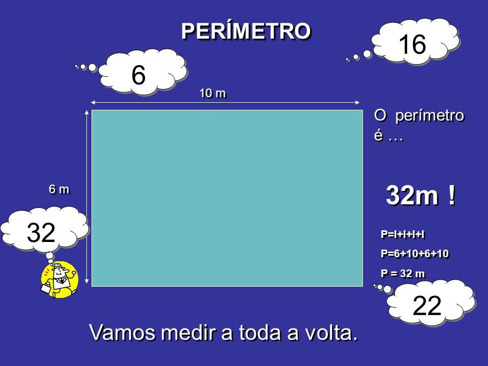 PERÍMETROPERÍMETRO 6 m 10 m O perímetro é … 32m ! 6 6 16 22 32 P=l+l+l+l P=6+10+6+10 P = 32 m P=l+l+l+l P=6+10+6+10 P = 32 m Vamos medir a toda a volt