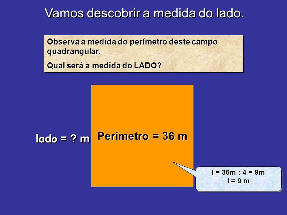Vamos descobrir a medida do lado. Observa a medida do perímetro deste campo quadrangular. Qual será a medida do LADO? Observa a medida do perímetro de