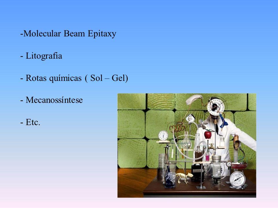 -Molecular Beam Epitaxy - Litografia - Rotas químicas ( Sol – Gel) - Mecanossíntese - Etc.