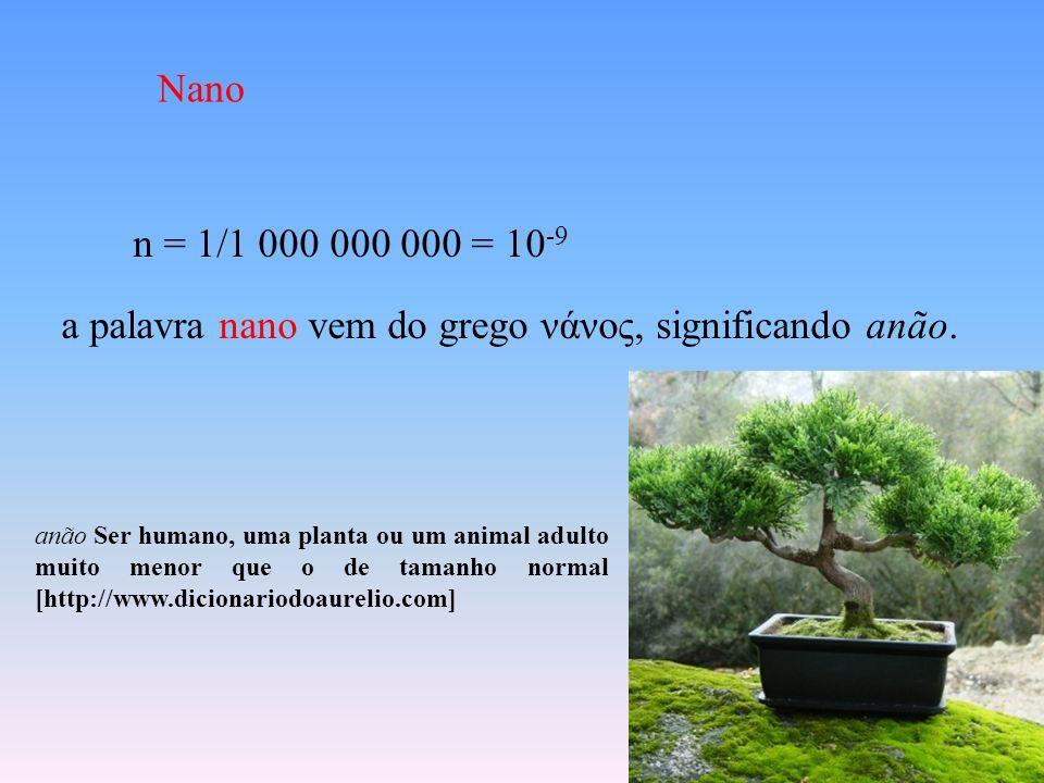 n = 1/1 000 000 000 = 10 -9 a palavra nano vem do grego νάνος, significando anão. anão Ser humano, uma planta ou um animal adulto muito menor que o de