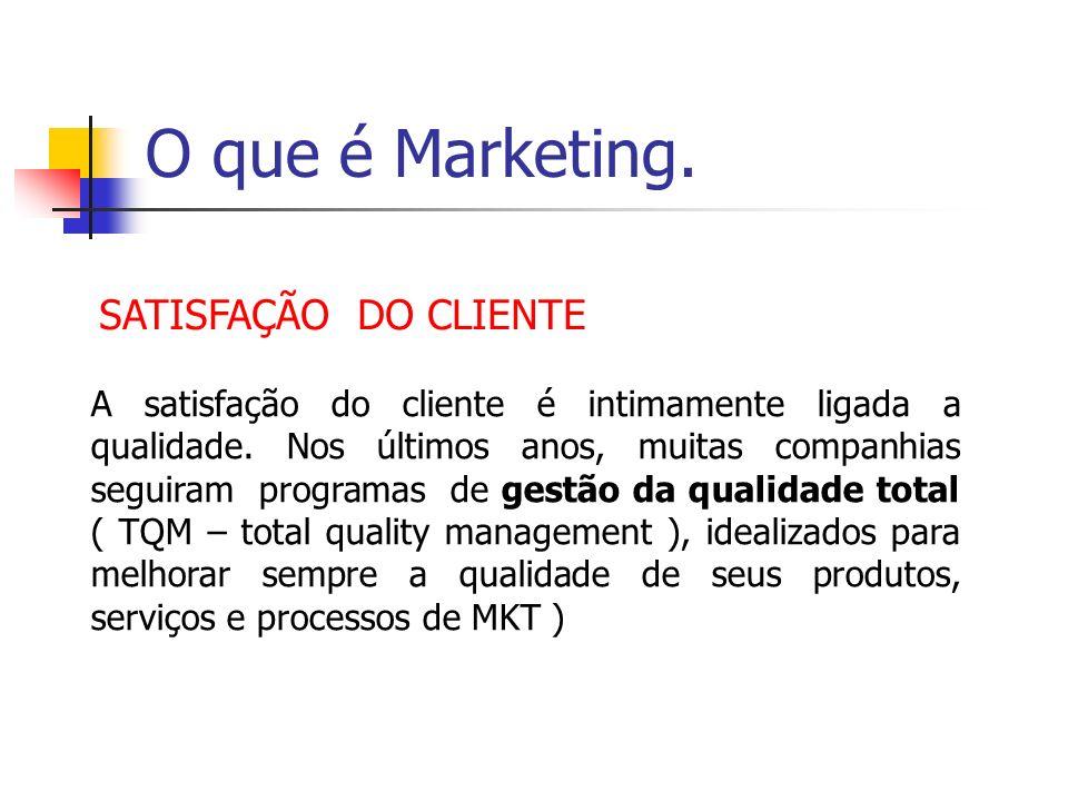 O que é Marketing. SATISFAÇÃO DO CLIENTE A satisfação do cliente é intimamente ligada a qualidade. Nos últimos anos, muitas companhias seguiram progra