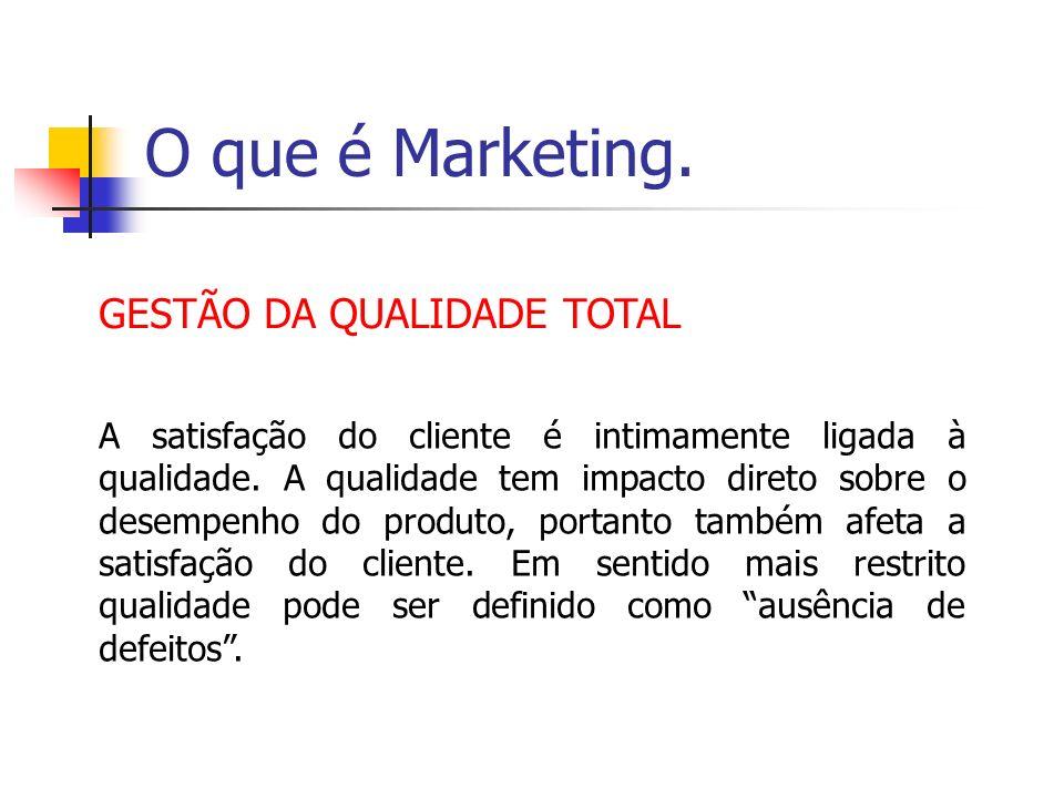 O que é Marketing. GESTÃO DA QUALIDADE TOTAL A satisfação do cliente é intimamente ligada à qualidade. A qualidade tem impacto direto sobre o desempen