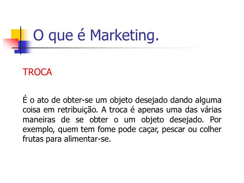 O que é Marketing. TROCA É o ato de obter-se um objeto desejado dando alguma coisa em retribuição. A troca é apenas uma das várias maneiras de se obte