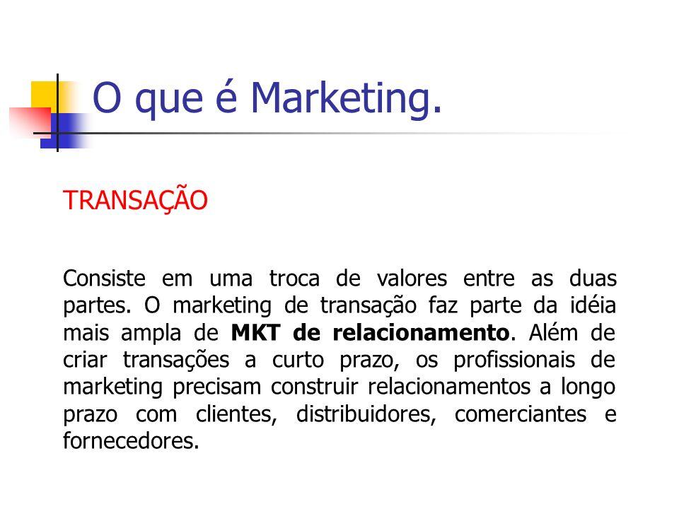 O que é Marketing. TRANSAÇÃO Consiste em uma troca de valores entre as duas partes. O marketing de transação faz parte da idéia mais ampla de MKT de r
