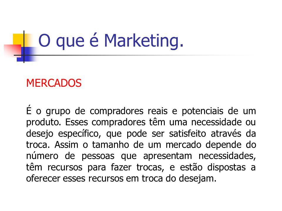 O que é Marketing. MERCADOS É o grupo de compradores reais e potenciais de um produto. Esses compradores têm uma necessidade ou desejo específico, que