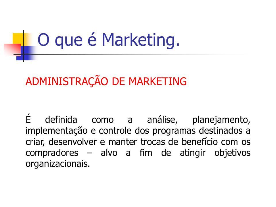 O que é Marketing. ADMINISTRAÇÃO DE MARKETING É definida como a análise, planejamento, implementação e controle dos programas destinados a criar, dese
