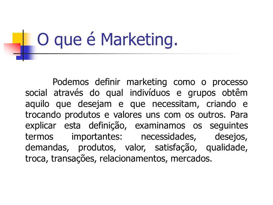 O que é Marketing. Podemos definir marketing como o processo social através do qual indivíduos e grupos obtêm aquilo que desejam e que necessitam, cri