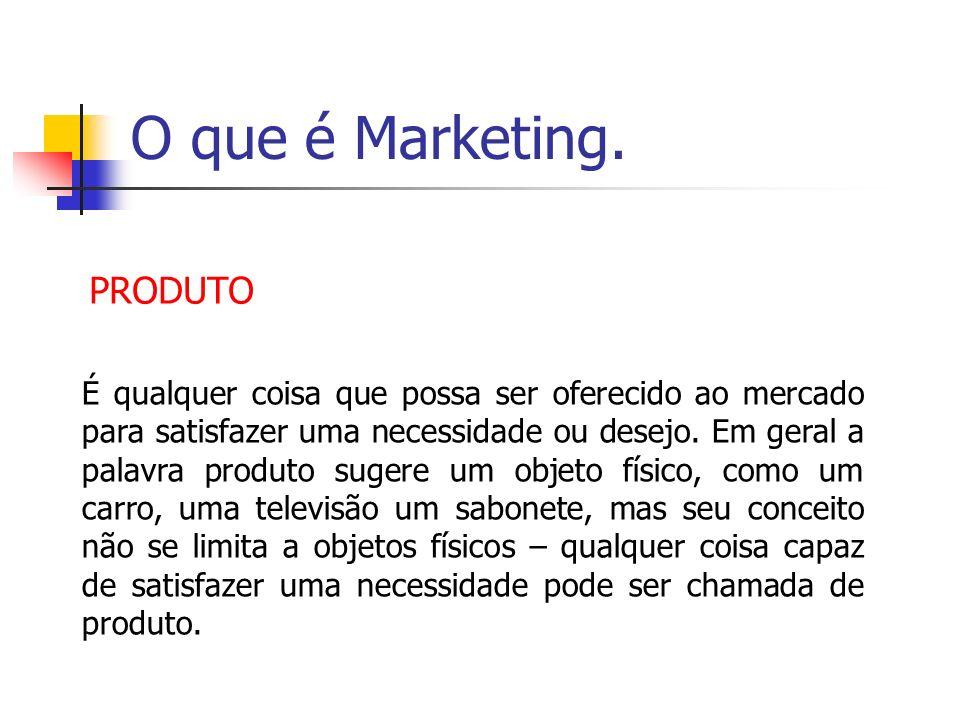 O que é Marketing. PRODUTO É qualquer coisa que possa ser oferecido ao mercado para satisfazer uma necessidade ou desejo. Em geral a palavra produto s