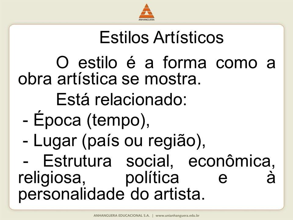 Estilos Artísticos O estilo é a forma como a obra artística se mostra. Está relacionado: - Época (tempo), - Lugar (país ou região), - Estrutura social