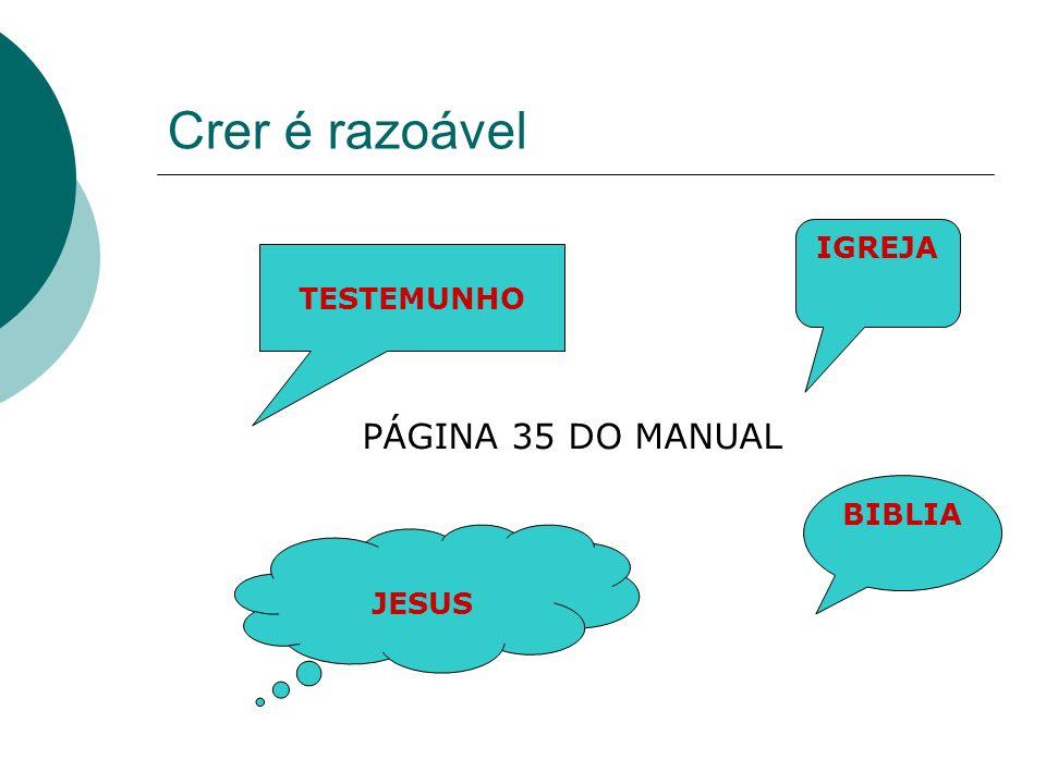 Crer é razoável IGREJA BIBLIA JESUS TESTEMUNHO PÁGINA 35 DO MANUAL
