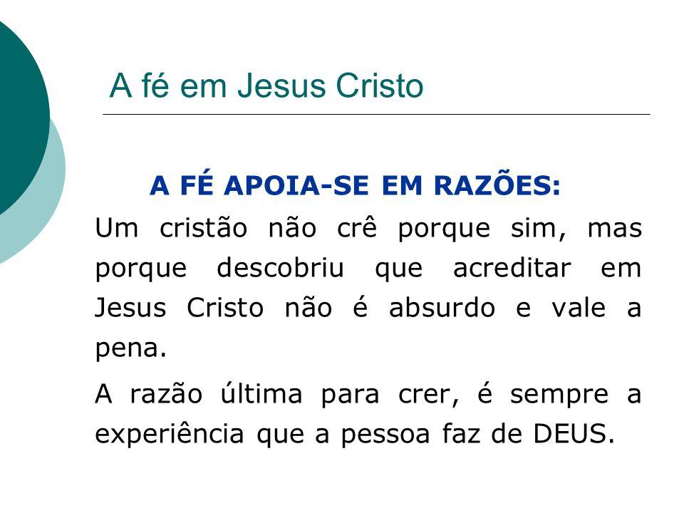 A fé em Jesus Cristo A FÉ APOIA-SE EM RAZÕES: Um cristão não crê porque sim, mas porque descobriu que acreditar em Jesus Cristo não é absurdo e vale a
