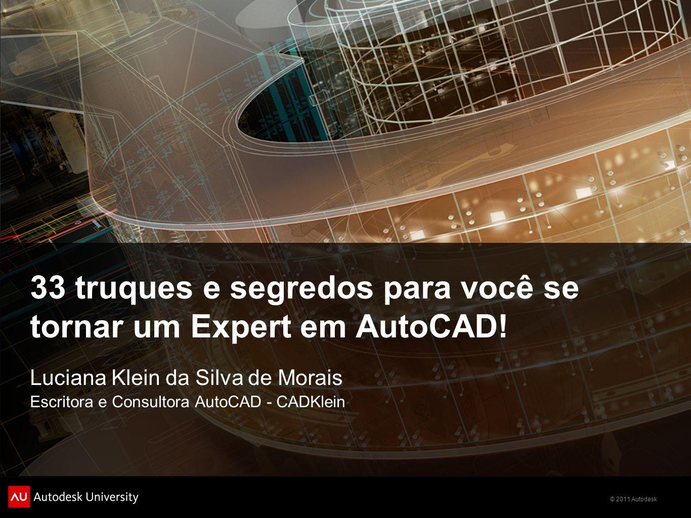 © 2011 Autodesk 33 truques e segredos para você se tornar um Expert em AutoCAD! Luciana Klein da Silva de Morais Escritora e Consultora AutoCAD - CADK
