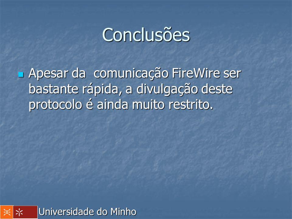 Conclusões Apesar da comunicação FireWire ser bastante rápida, a divulgação deste protocolo é ainda muito restrito. Apesar da comunicação FireWire ser
