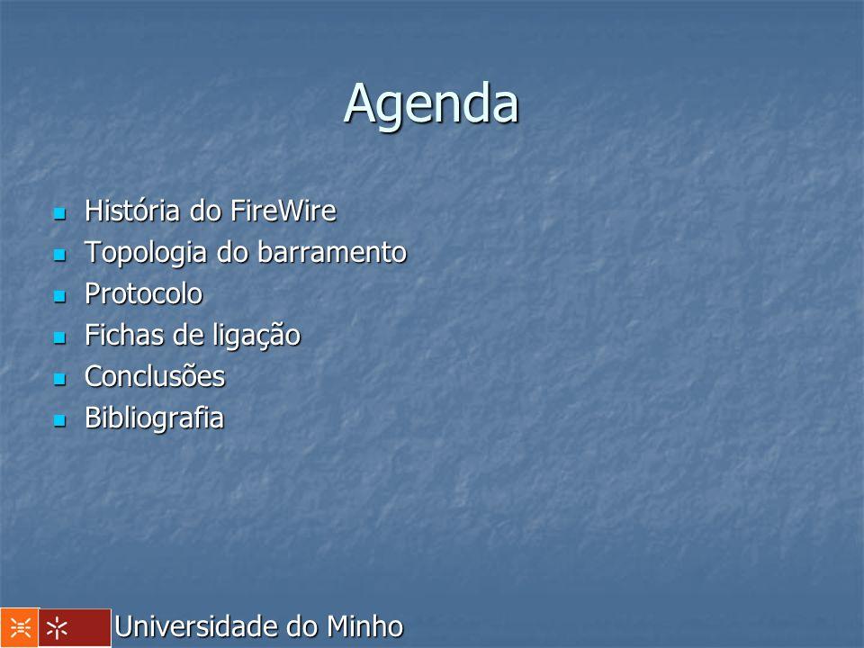 Agenda História do FireWire História do FireWire Topologia do barramento Topologia do barramento Protocolo Protocolo Fichas de ligação Fichas de ligaç