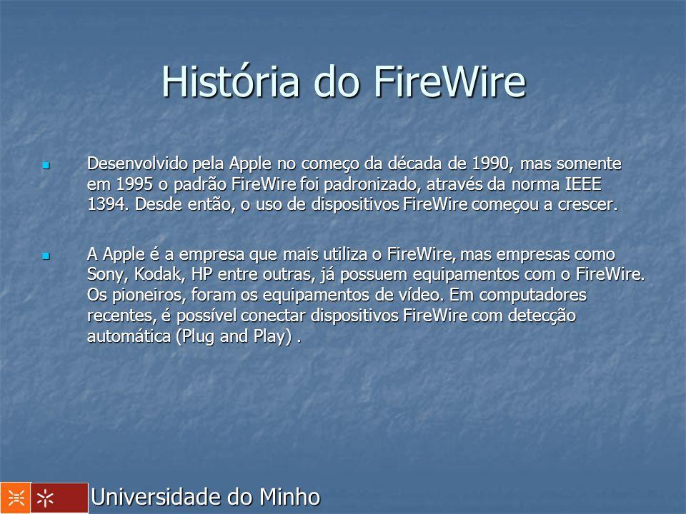 História do FireWire Os produtos Firewire actuais podem operar a uma taxa de 400 Mbps, contra 12 Mbps do USB.