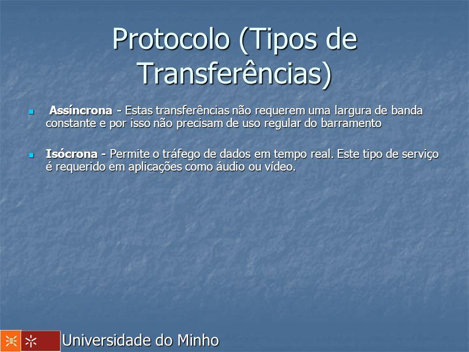 Protocolo (Tipos de Transferências) Assíncrona - Estas transferências não requerem uma largura de banda constante e por isso não precisam de uso regul