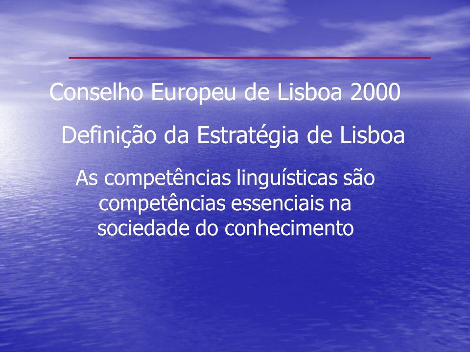 Conselho Europeu de Lisboa 2000 Definição da Estratégia de Lisboa As competências linguísticas são competências essenciais na sociedade do conheciment