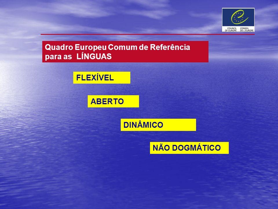 FLEXÍVEL ABERTO NÃO DOGMÁTICO Quadro Europeu Comum de Referência para as LÍNGUAS DINÂMICO