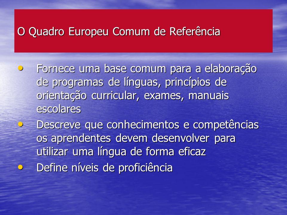 O Quadro Europeu Comum de Referência Fornece uma base comum para a elaboração de programas de línguas, princípios de orientação curricular, exames, ma