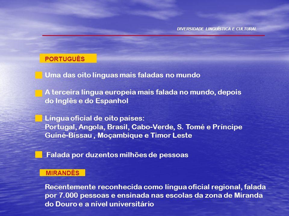 MIRANDÊS Recentemente reconhecida como língua oficial regional, falada por 7.000 pessoas e ensinada nas escolas da zona de Miranda do Douro e a nível