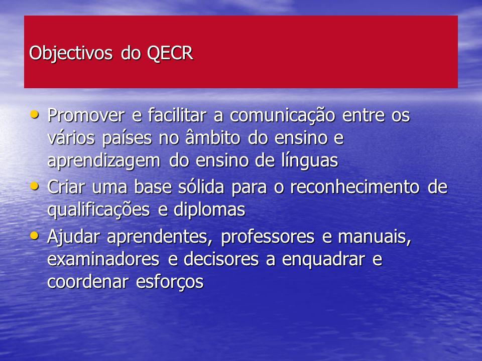 Objectivos do QECR Promover e facilitar a comunicação entre os vários países no âmbito do ensino e aprendizagem do ensino de línguas Promover e facili
