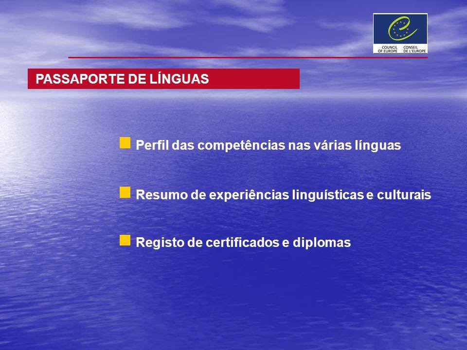PASSAPORTE DE LÍNGUAS Perfil das competências nas várias línguas Resumo de experiências linguísticas e culturais Registo de certificados e diplomas