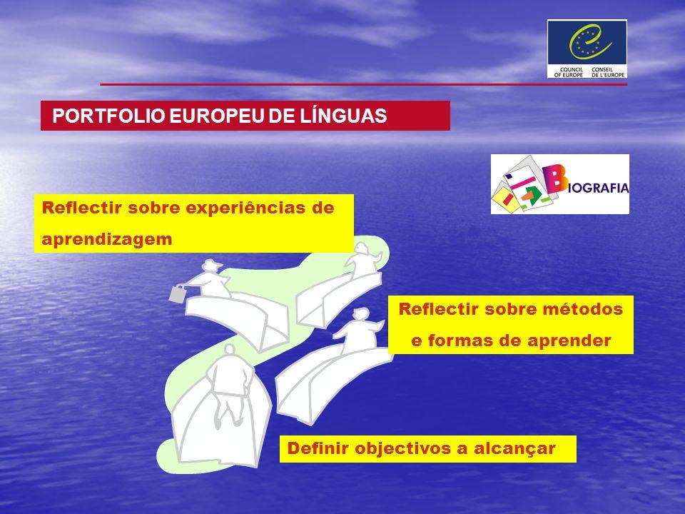 Reflectir sobre experiências de aprendizagem Reflectir sobre métodos e formas de aprender Definir objectivos a alcançar PORTFOLIO EUROPEU DE LÍNGUAS