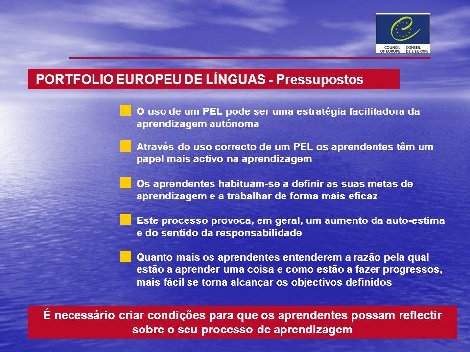 É necessário criar condições para que os aprendentes possam reflectir sobre o seu processo de aprendizagem PORTFOLIO EUROPEU DE LÍNGUAS - Pressupostos