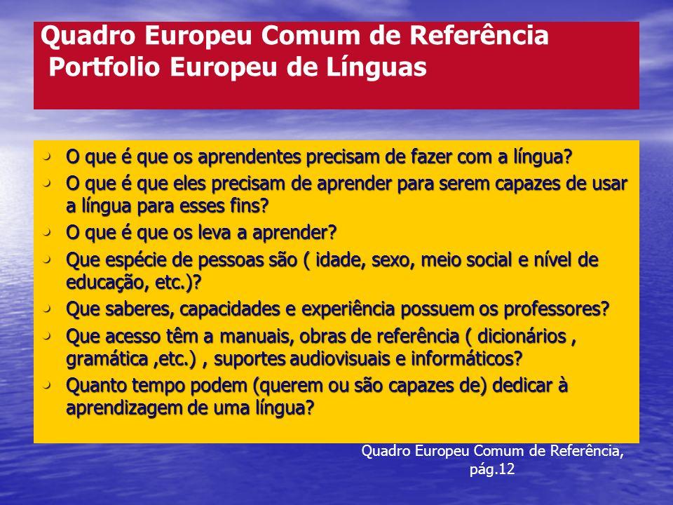 Quadro Europeu Comum de Referência Portfolio Europeu de Línguas O que é que os aprendentes precisam de fazer com a língua? O que é que os aprendentes