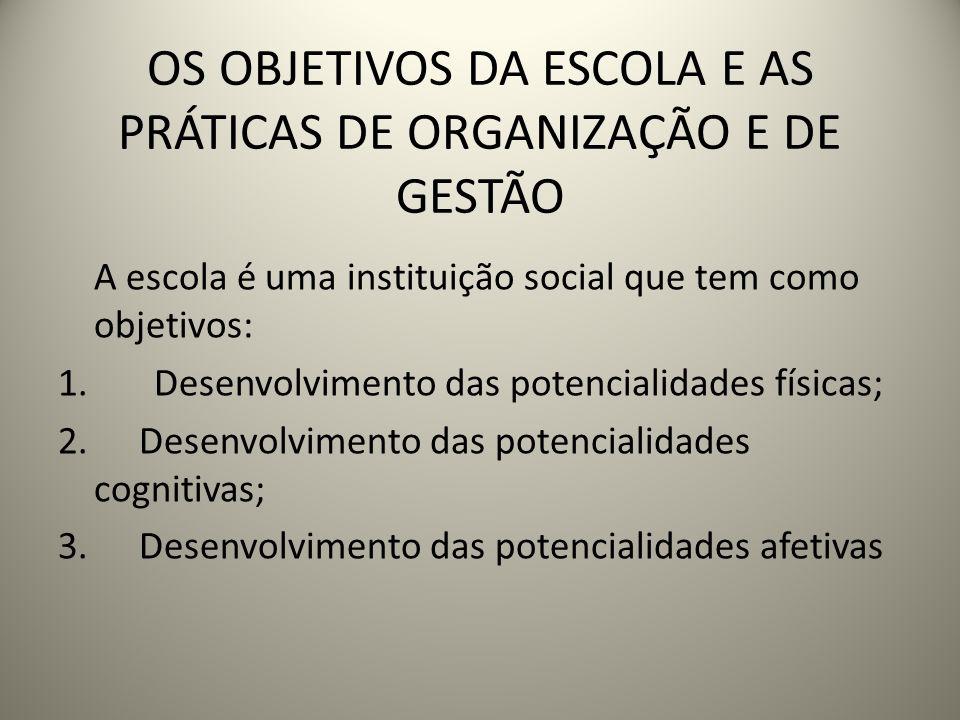 OS OBJETIVOS DA ESCOLA E AS PRÁTICAS DE ORGANIZAÇÃO E DE GESTÃO A escola é uma instituição social que tem como objetivos: 1.Desenvolvimento das potenc