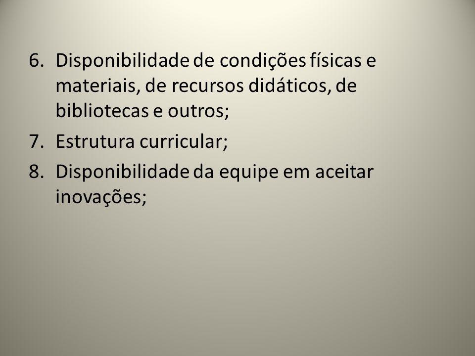 6.Disponibilidade de condições físicas e materiais, de recursos didáticos, de bibliotecas e outros; 7.Estrutura curricular; 8.Disponibilidade da equip