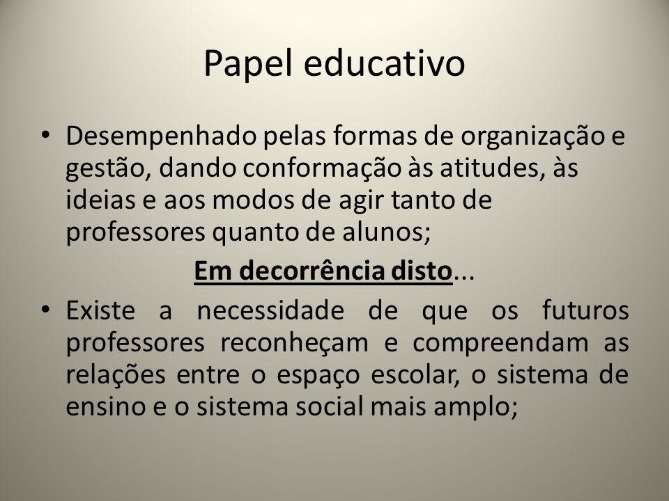 Papel educativo Desempenhado pelas formas de organização e gestão, dando conformação às atitudes, às ideias e aos modos de agir tanto de professores q