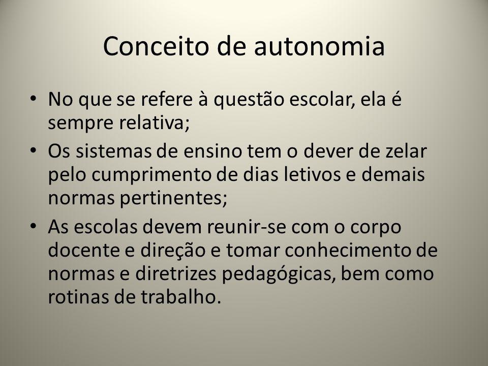 Conceito de autonomia No que se refere à questão escolar, ela é sempre relativa; Os sistemas de ensino tem o dever de zelar pelo cumprimento de dias l