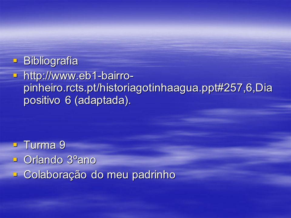 Bibliografia Bibliografia http://www.eb1-bairro- pinheiro.rcts.pt/historiagotinhaagua.ppt#257,6,Dia positivo 6 (adaptada). http://www.eb1-bairro- pinh