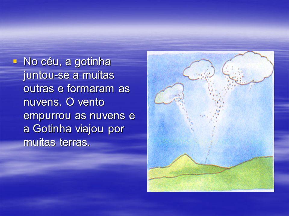 No céu, a gotinha juntou-se a muitas outras e formaram as nuvens. O vento empurrou as nuvens e a Gotinha viajou por muitas terras. No céu, a gotinha j